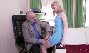 Tricky old teacher - old but tireless teacher satisfies blond