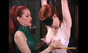 Latex-clad redhead whore has her way with a freckled ginger hussy