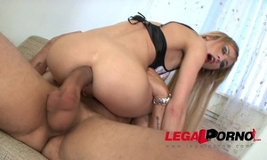 Perfect golden-haired whore amanda receives her small arse screwed by monster cock