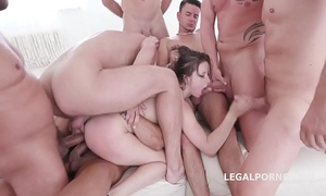10 on 1 gang group-sex for ultra wench gabriella lati 10 swallows!