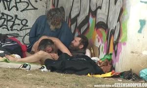 Pure street life homeless trio having sex on public