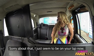 Female fake taxi shocked firemans pantyhose acquires drained