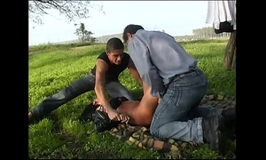 A woman with car trouble is taken and humiliated by 2 fellows