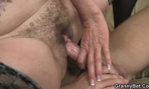Old doxy rides his large pecker