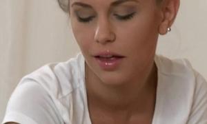 Blonde masseur finger copulates dark brown