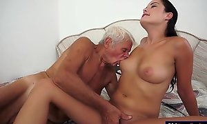 Dolly diore sucks off a grandpas pecker and sits...