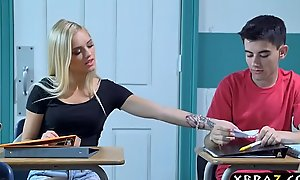 Busty milf teacher receives with legal age teenager couple in her...