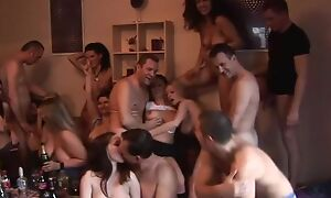 Group of horny Czech swingers having fun in the living room