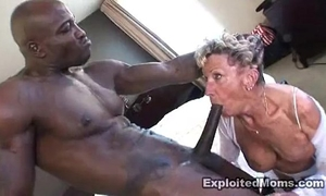 Old granny takes a large dark pecker in her gazoo anal interracial episode