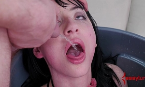 Goth cheating wife fed piddle and butt drilled in the trash